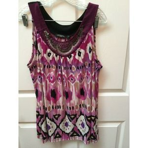 lwomens NOTATIONS  stretch  plus size top 2x